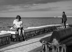 La Lectora (Bart van Hofwegen) Tags: boulevard read reading book sea horizon people blackandwhite monochrome malaga málaga urban urbanphotography