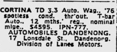 October1979No45 (mat78au) Tags: october 1979 melbourne newspaper extracts cortina td update wagon 33l advert melb oct 79