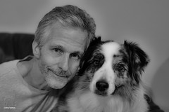 They say a man looks more like his dog with each passing year (Jasper's Human) Tags: aussie australianshepherd dog human