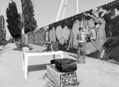Mauerpark I (Ernst-Jan de Vries) Tags: fujifilmacros100 fuji ilfosol3 114 ilfosol zwartwit blackwhite mamiya mediumformat mittelformat middenformaat film analoog analogue analog scan epson4490 negative negatief 120 645 filmisnotdead ishootfilm berlin mauerpark graffiti berlijn berlim eu capital city metropolis germany deutschland duitsland allemagne alemania alemanha urban artist paint monochrome