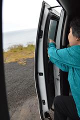 Isabelle Closes the Door on Norðurland Eystra (Sotosoroto) Tags: iceland norðurland norðurlandeystra driving fjallabyggð highway76 tröllaskagi van arctic coast arcticocean