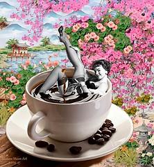Art: Pin-Up in Japan. By Silviane Moon. (Silviane Moon) Tags: surrealfantasy colagemsurreal surrealcollage surrealism silvianemoon pinupgirl coffeebreak coffee borboletas pinup flores bomdia butterfly flowers japan japão