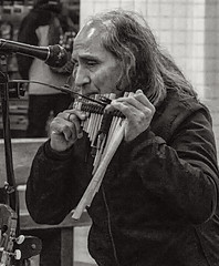 Portrait of Subway Musican (nrhodesphotos(the_eye_of_the_moment)) Tags: dsc12833001084 wwwflickrcomphotostheeyeofthemoment theyeofthemoment21gmailcom portrait monochrome blackandwhite musician candid subwaymusician underground performing indoor bokeh