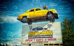 PICK-n-PULL (Crusty Da Klown) Tags: picknpull sign car yellow blue canon film kodak bc britishcolumbia canada junkyard pov outside outdoors vehicle up high