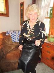 Warning! (Laurette Victoria) Tags: skirt blouse leather woman laurette blonde