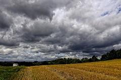 Krajobraz z lelkiem. (jadwigatrzeszkowska) Tags: wieś pole łąka chmury lato braunhausen hesja niemcy jawigatrzeszkowska