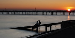 Happy Days. (daveknight1946) Tags: essex southend southendpier people sunset riverthames silhouette longexposure fujixt3 leefilters