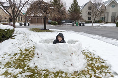 Joshua's Snow Fort (aaronrhawkins) Tags: snow fort frontyard boy child children winter build construction fun childhood hidden hide joshua aaronhawkins
