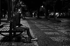 rio at night.... (rainerneumann831) Tags: bw blackandwhite street strase streetphotography candid strasenfotografie monochrome urban ©rainerneumann riodejaneiro wwwrainerneumannphotographyde mann sitzbank nacht