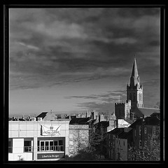 Now open............ (Jason 87030) Tags: scene view frame composition nowopen libertineburger bar joint shucrh roofsf steeple spire clouds lighting weather rugby warks warwickshire museum ragm discoveries bw bbw bnw black white noir blanc mono tones border inside looking out peep