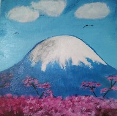 Mount Fuji (Morgane Batista) Tags: painting acrylic mount fuji landscape japan cherryblossoms sakura art nature tutorial sherpa