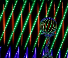 Criss Cross (Karen_Chappell) Tags: blue red black color colour green colors colours rgb longexposure light stilllife lightpainting glass ball circle lights glow orb led sphere round refraction colourful lines curves diagonal shape