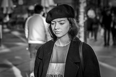 A French Connection (Leanne Boulton) Tags: street portrait urban candid streetphotography streetportrait streetlife portraiture candidportrait candidstreetphotography woman girl face hat fashion female hair sadness eyes mood emotion expression style atmosphere feeling beret detail texture bokeh depthoffield tone light outdoor naturallight shade life city people living humanity culture lifestyle scene human society uk blackandwhite bw white black monochrome canon mono scotland blackwhite glasgow 70mm canon5dmkiii ef2470mmf28liiusm