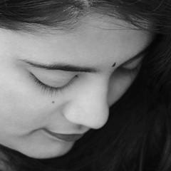 Coy! (Bhuvan N) Tags: headshot portrait portraits retrato bw bwportrait bnw bnwportrait blackandwhite monochrome mono absoluteblackandwhite closeup naturallight beautyportrait