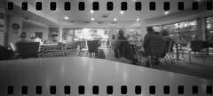 2586 Coffee Break. (Monobod 1) Tags: panoramic pinhole 135 lensless ilford fp4 ondu epsonv800 kodak hc110