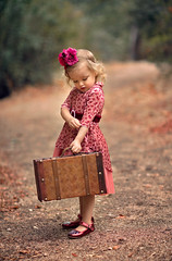 On the Go ({jessica drossin}) Tags: jessicadrossin wwwjessicadrossincom girl toddler suitcase retro shoes pink purple flowers path outdoors kid childhood vintage cute