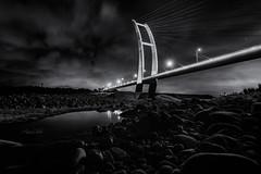 新竹。新中正大橋 (crazychuo) Tags: landscape night reflection bridge taiwan 新竹 夜景 雲彩 倒影 中正大橋 bw
