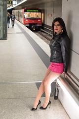 231 (ZoeLinda) Tags: highheels heels shoes stilettos legs pantyhose nylons skirt pink travesti drag dragqueen tgirl trans tranny transgender transvestite lindazoe nürnberg ubahn