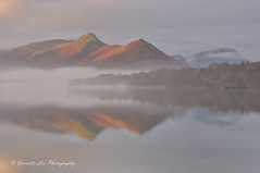 Light Over Catbells (jeanette_lea) Tags: landscape united kingdom isthmus bay derwentwater keswick the lake district cumbria sunrise dawn mist catbells light fells colours trees cloud sky reflections water shadows