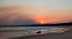 The Smoky Clouds (Unique Earth) Tags: sunset sea fire bush smoke red beach shore reflection sand orangeyellow