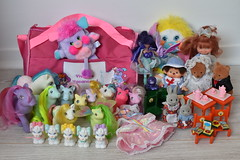 Flea Market Finds Nov 2019 (Chani-Chan) Tags: toys vintage 80s collection thrifting popples bag french cherrry merry muffin betty berry starla doll dragon princess gwenevere fallon kiki monchichi bärenwald forest families wedding furniture bunnies little pony mlp g1 baby quackers fifi bunkie speckles sherbet sweet celebrations cool breeze windy wing morning glory billie tyco quints dogs puppies lady lovely locks dress