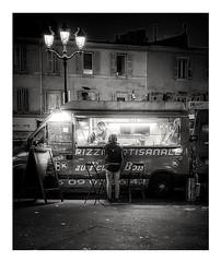 Pizza evening. (streetspirit13) Tags: light streetphotographer streetpassionaward streetphoto bnwphotographer bnwphotography bnwstreetphoto blackandwhite noiretblanc foodtruck marseillestreet bw