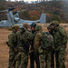 U.S. Marines, Soldiers from the JGSDF prepare to board an MV-22B during Forest Light Middle Army