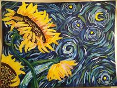 Starry Starry Sunflowers (Morgane Batista) Tags: painting acrylic sunflowers vangogh style sherpa swirls starry nature art flowers