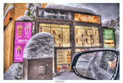 Suddenly in the storm, there was hope... (Pearce Levrais Photography) Tags: snow snowstorm dunkin coffee warmth cold mirror cart building drivethrough outside outdoor winter accumulation menu lense donuts newengland sony a7r3 hdr ilce7rm3