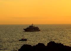 Boats,,,and orange sunset