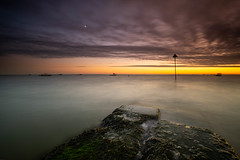 Dramatic sky over the Thames. (daveknight1946) Tags: essex thorpebay sunset clouds riverthames fujixt3 longexposure