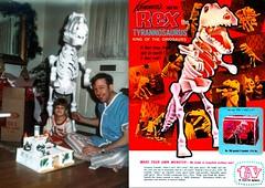 Rex Dino 1960s (Brechtbug) Tags: four foot tall kenner styrofoam tyrannosaurus rex dinosaur skeleton bones with original box toy toys photo family life portrait holiday 1960 1960s 1968 screen grab dinosaurs trex ad advertising package packaging 60s 68 60 t styro foam