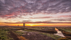 Horsey Sunrise (Geoffrey Tibbenham) Tags: sunrise sky clouds countryside countryfile colour norfolk broads windmill water winter weather openspace outdoors marshes dyke sunlight sun fuji fujifilmuk 12mm zeiss touit xt1