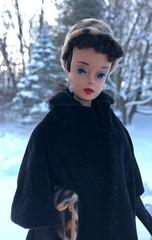 Cold morning (Foxy Belle) Tags: snow outside winter trees barbie vintage doll brunette coat hat gloves ponytail woods forest