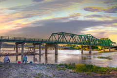 Just Fishin' (TicKavich) Tags: river mississippiriver bridge water fishing sandbar sunset sky peaceful relaxation