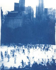 fairytale of Central Park (Mattron) Tags: cyanotype blue alternativeprocess film filmphotography darkroom printmaking analog magicrealism surreal nyc centralpark winter iceskating