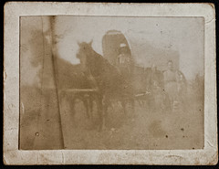 """Levi Whisler and family Roseland, Nebr."" (smallcurio) Tags: foundphotograph mountedphotograph coveredwagon leviwhisler leviwhistler roseland nebraska"