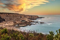 Southern Point (larwbuck) Tags: landscape autumn beach bushes california cliffs clouds composite fall ocean rocks seascape sunset travel water