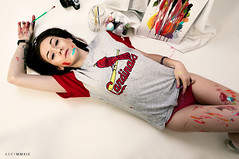 Alyssa (Ray Akey - Photographer) Tags: paint painter girl sexy brunette red cardinals casual shoot woman female underwear