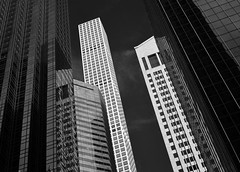 Looking down East 56th Street (infrared) (dr_marvel) Tags: ny nyc newyorkcity newyork ir infrared urban downtown skyscrapers buildings upward skyward blackandwhite monochrome