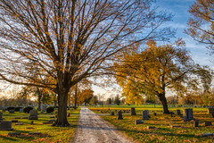 Autumn Arrives in Indiana (26) (tquist24) Tags: cemetery goshen hdr indiana nikon nikond5300 oakridgecemetery outdoor autumn color colorful fall geotagged graveyard lawn outside road sky tombstone tree trees