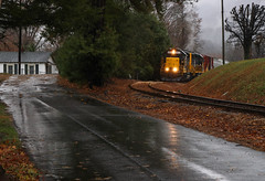 Saturday Shortline Shuttle (weshendrix) Tags: blue ridge southern blu t59 asheville clyde nc north carolina t line shortline railroad rr railroading railfan railfanning freight local manifest mountains rain outdoor trees fall leaves road emd gp392 diesel engine locomotive vehicle standard cab
