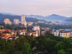IKuala Lumpur at Dawn (kate willmer) Tags: buildings trees mountains cloud mist city jungle houses dawn kualalumpur malasia