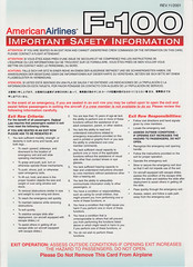 American Airlines F-100 (Dmitry's Safety Cards for Trade) Tags: usa americanairlines fokker f100 safetycards