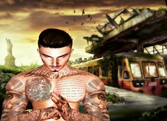 """"""" Acquire knowledge, And Learn Tranquility and Dignity """" (maka_kagesl) Tags: secondlife sl game virtual videogame videogames avatar avi snap snapshot screenshot green greenscreen photography portrait photo picture pic pose posing painting ps photoshop nyc ny bus"""