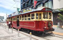 Trams. Christchurch. NZ. (Bernard Spragg) Tags: samsungs9 smartphone cellphones trams transport christchurch rails city
