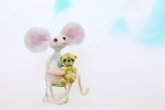 button does not like rats (rockinmonique) Tags: felted small tiny rat bear teddybear imadethis button chair yellow white blue pink highkey moniquewphotography canon canont6s tamron tamron45mm copyright2019moniquewphotography