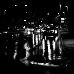 Heading home after work ... (mkk707) Tags: film analog 35mmfilm blackwhite monochrome leicar3 leitzsummicronr90 kodaktmax400 wwwmeinfilmlabde germancameras itsaleica rainonfilm vintagelens vintagefilmcamera nightonfilm nightshot