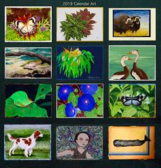 2019 Calendar Art (M.P.N.texan) Tags: art paint paintings acrylic acrylics original handpainted animal whale butterfly dog katydid insect duck flower muskox mpn