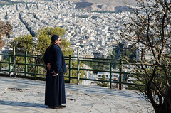 Watching the city (F719D) Tags: street streetphotography streetart nikon nikond7000 d7000 athens priest city cityskyline panoramic view attica column doric ancient old sky blue stone αθήνα ἑλλάσ portrait candid man alone lycabettus hill θέα λυκαβηττού